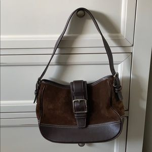Coach Brown Leather, and Suede Buckle Coach Bag